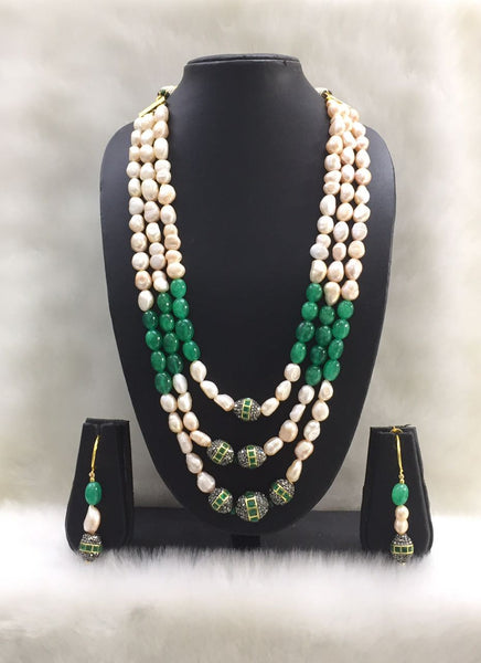 Three stranded Fresh Water Pearl Necklace Set
