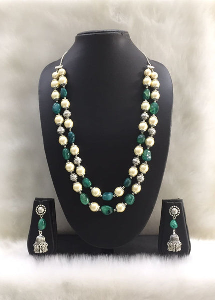 Two Stranded Green Agate Tumble Gemstone Beaded Necklace Set