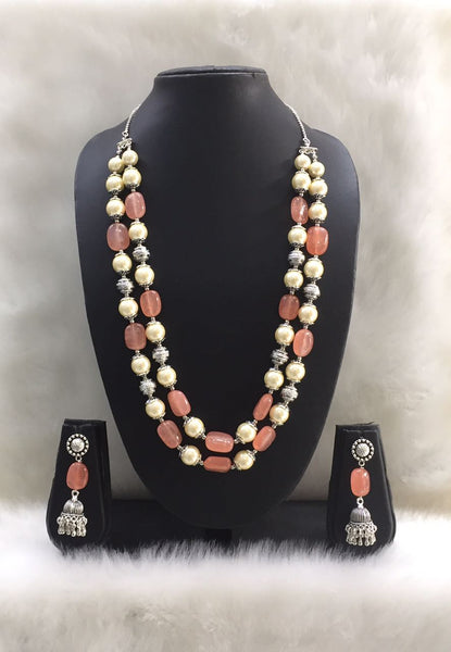 Two Stranded Peach Pink Agate Tumble Gemstone Beaded Necklace Set