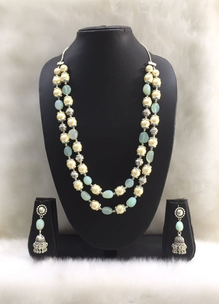 Two Stranded Sky Blue Agate Tumble Gemstone Beaded Necklace Set