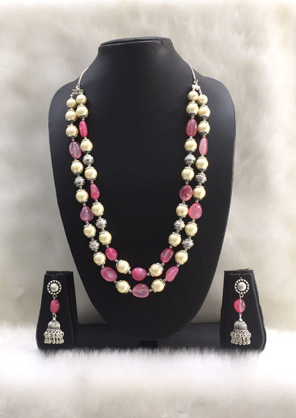 Two Stranded Pink Shaded Agate Tumble Gemstone Beaded Necklace Set