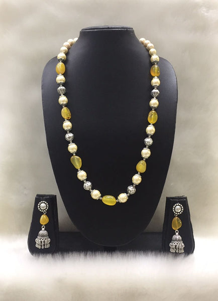Single strand Tumble Agate Shell Pearl Gemstone Necklace Set