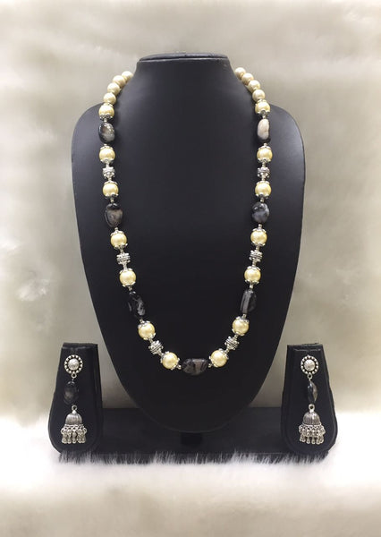 Single strand Tumble Black Agate Shell Pearl Gemstone Necklace Set