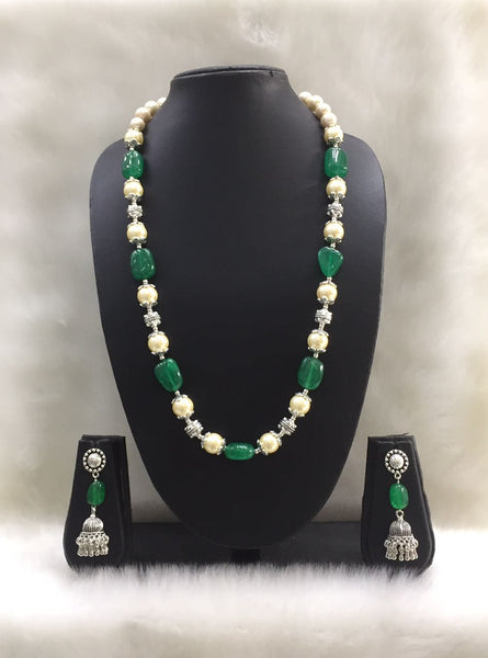Single strand Green Tumble Agate and Shell Pearl Gemstone Necklace Set