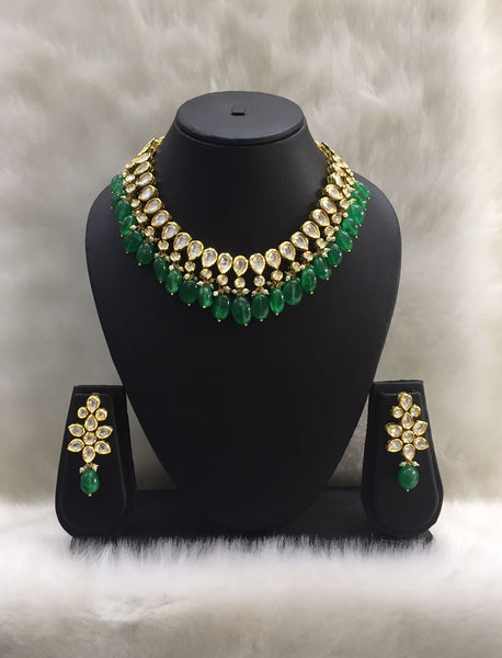Kundan and Green Onyx Gemstone Choker Necklace Set