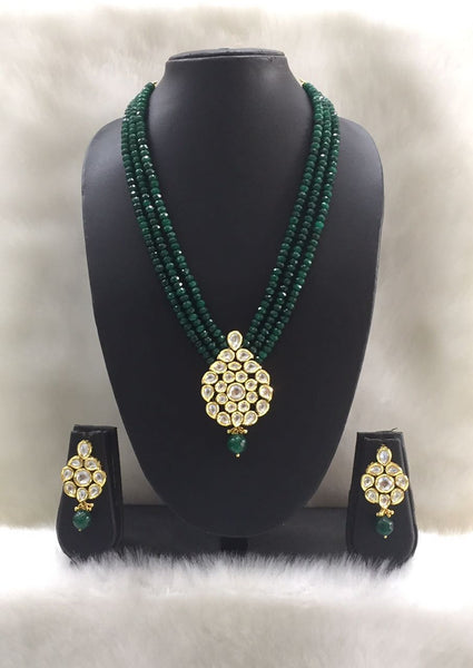 Three Stranded Dark green kundan Pendant necklace set