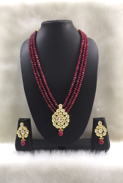 Three Stranded Garnet Red and Kundan Pendant necklace set