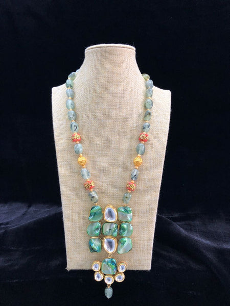 Green Shaded Tumbles in Layered Pearl and Kundan Embedded Pendant Drop Necklace