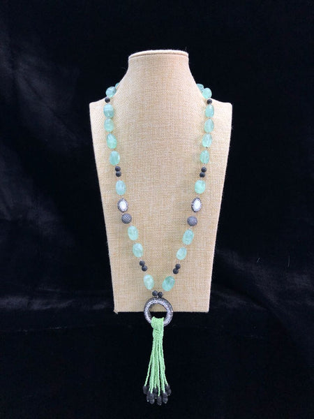 Mint Green Tumbles in Circlet Pendant Linked Tassel Necklace