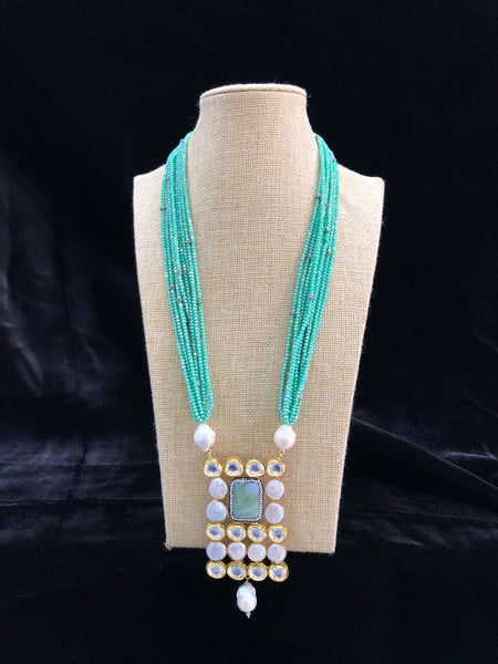 Multi Stranded Turquoise Green Gemstones linked Milky Equitable Pendant Necklace