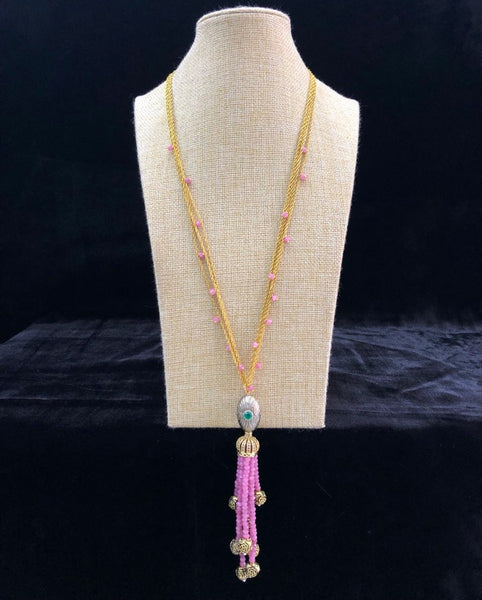 Long multilayered chain taffy pink beaded tassel Necklace