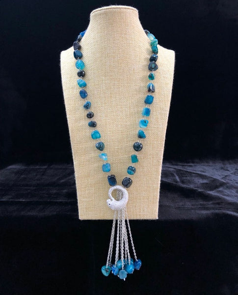 Shades of blue gemstone reverse mouse Pendant Tassel necklace
