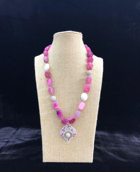Bright Pink Necklace With White Pendant