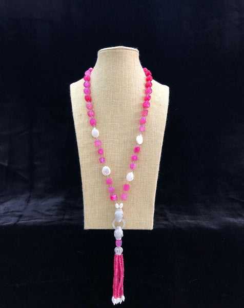 Bright Pink Necklace With Tassel
