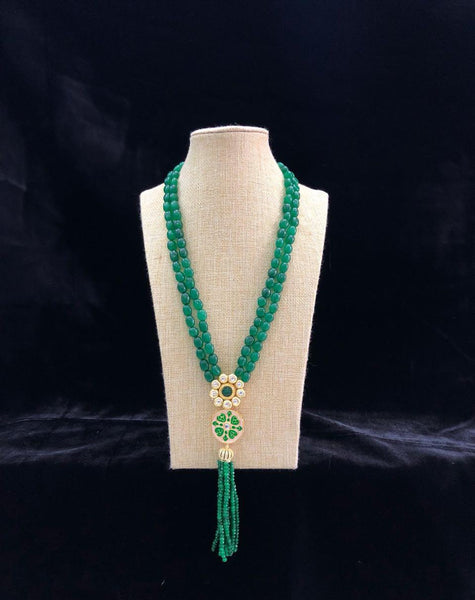 Naturally Green and Gold Necklace with Tassel