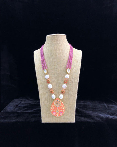 Pink and White Necklace with Bright Orange pendant