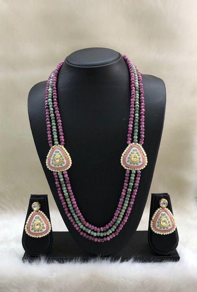 Pink and Green Ethnic Necklace set