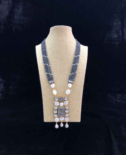 Dark Gray and White Subtle Necklace