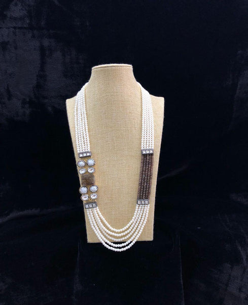 Multi-stranded Brown and White Necklace