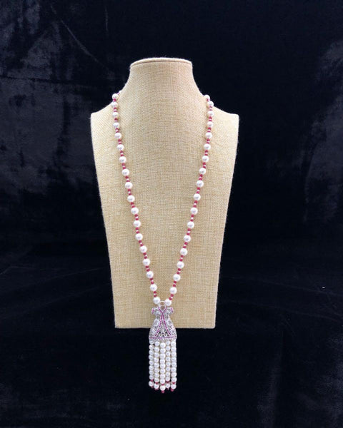 White Pearls With Pink Beads Necklace With Pearly Tassel