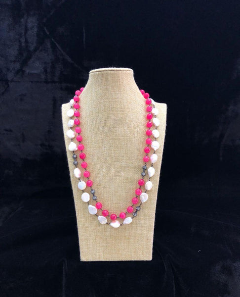 Bright Pink and White Necklace