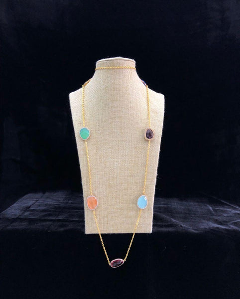 Long Chain with Multi-color Stones