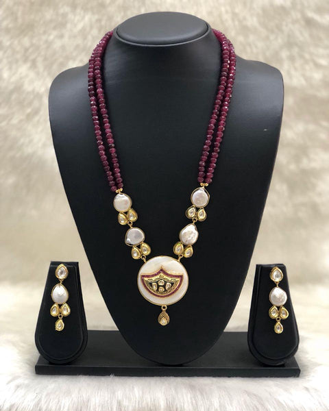 Shades of Maroon & Baroque Pearls Spherules Necklace Set