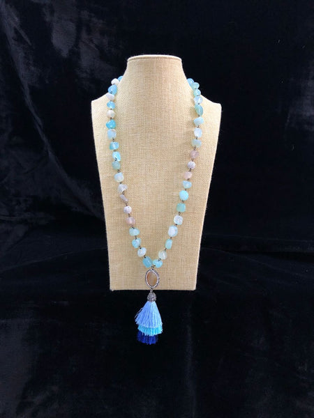 Shades of Blue Necklace with Tassel