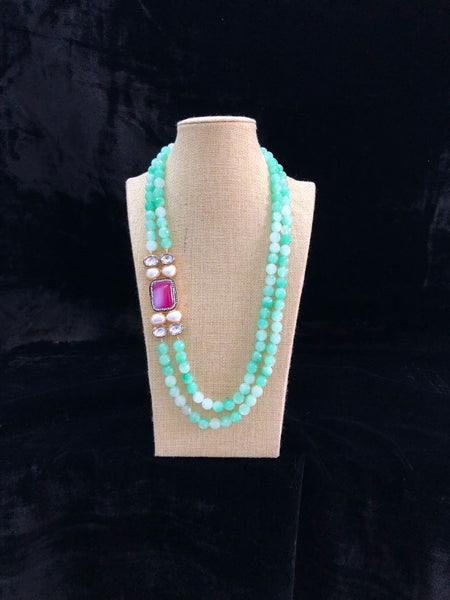 Seafoam Necklace With Baroque Pearl and Kundan