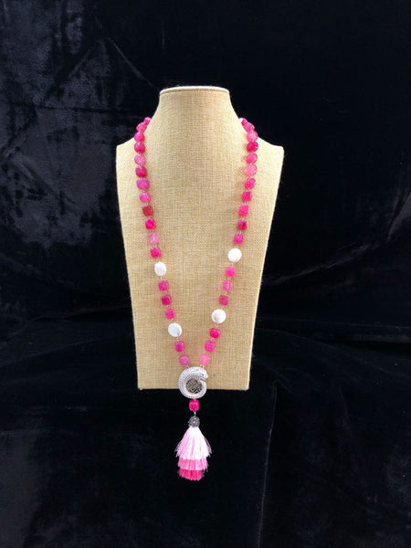 Shades of Queen Pink Necklace With Tassel