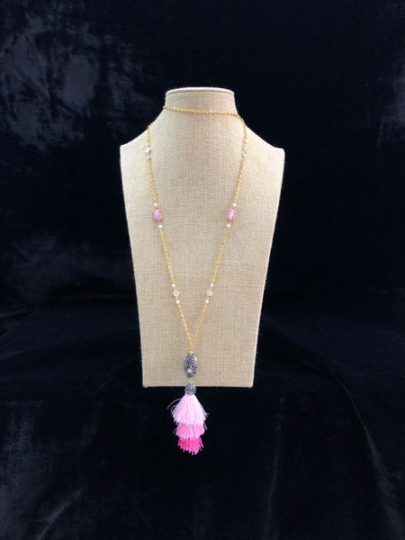 Gold Chain with Pink Tassel