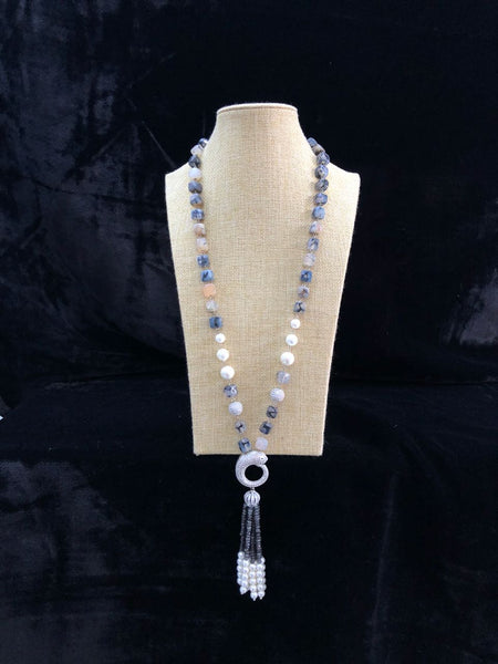 Shades of Grey and Pearl Necklace With Tassel