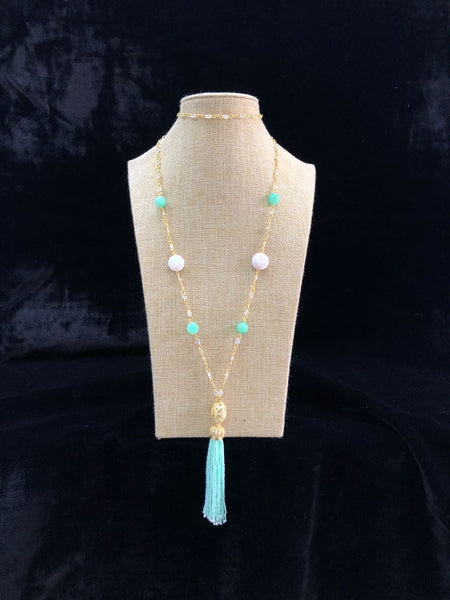 Gold Chain Turquoise And Pearl with Tassel