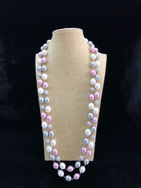 Pink Metallic and Pearl Necklace