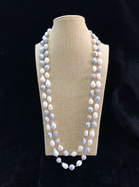 Silvery White Pearls Necklace
