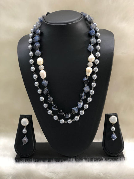 Shades of Blue Agate Necklace Set