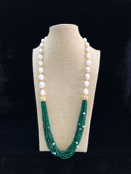 Deep Green & Baroque Pearls Necklace