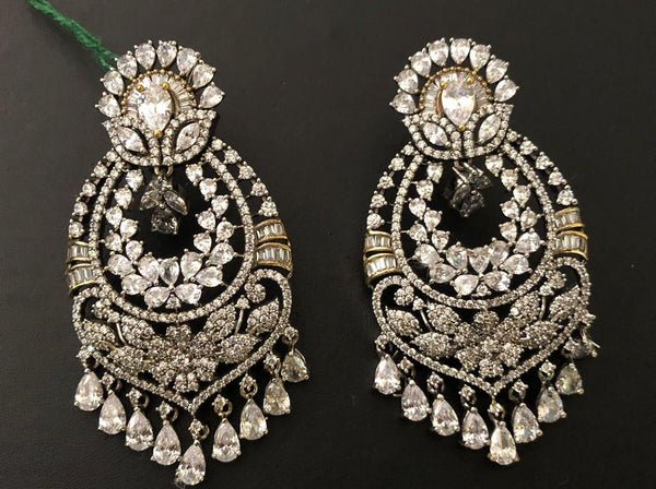 Stunning CZ Floral Chandbali Earrings