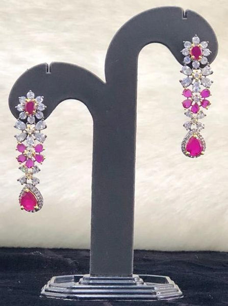 Pink and Cubic Zircon Earrings