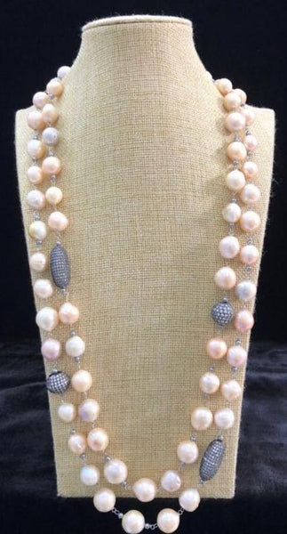 Cantalope Peach Pearl Necklace