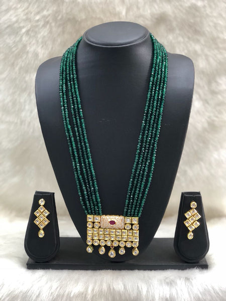 Pine Green Kundan Necklace Set