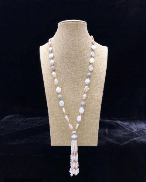 Tantalizing Baroque Pearl Beaded Tassel Necklace