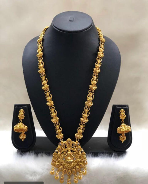 Classic Golden Laxmi Temple Necklace Set