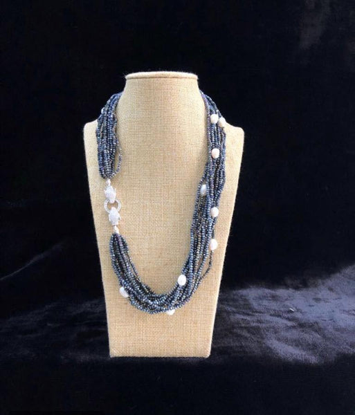 Multi-stranded Blue &  Pearl Necklace