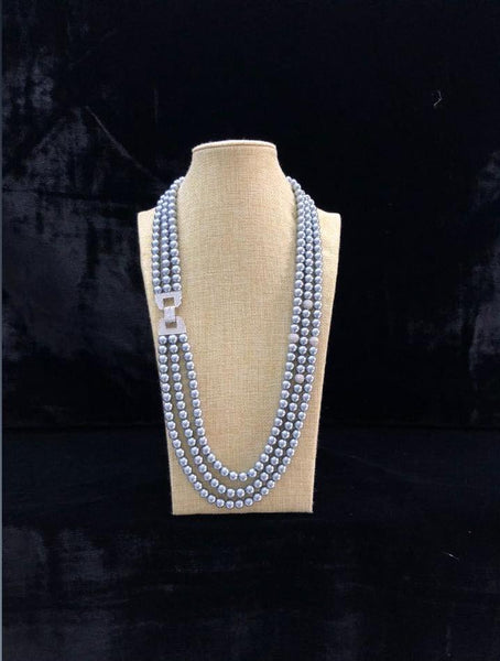 Three stranded Silver Shell Pearls Necklace