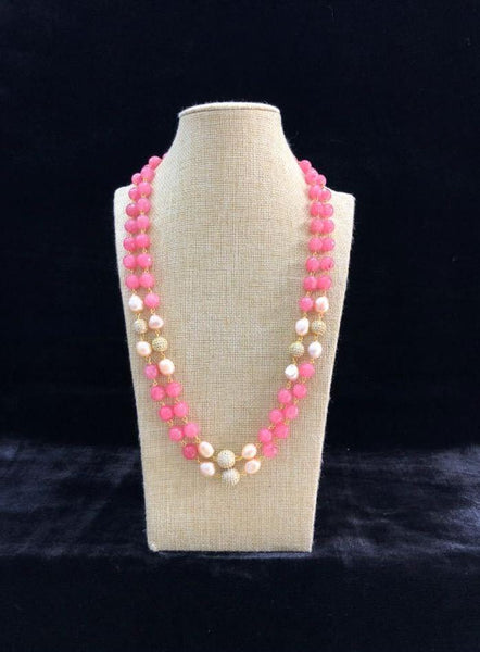 Pink and Golden Pearls Necklace