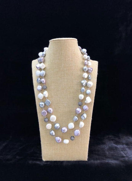 Silver Shell Pearls Necklace