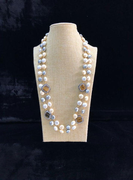 Silver Shine Pearl Caramel Necklace