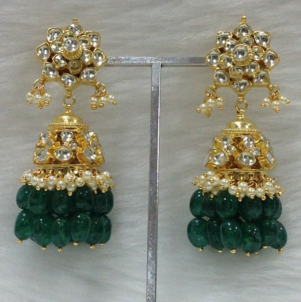 Lustrous Kundan Green Jhumka Earrings