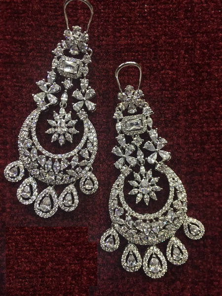 Crystalline Teardrop Cubic Zircon Chandbali Long Earrings